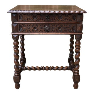 Antique French Silver Chest Barley Twist End Table For Sale