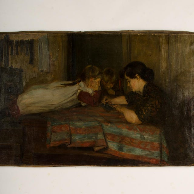 """19th Century """"Family Time"""" Figurative Oil Painting For Sale - Image 10 of 11"""