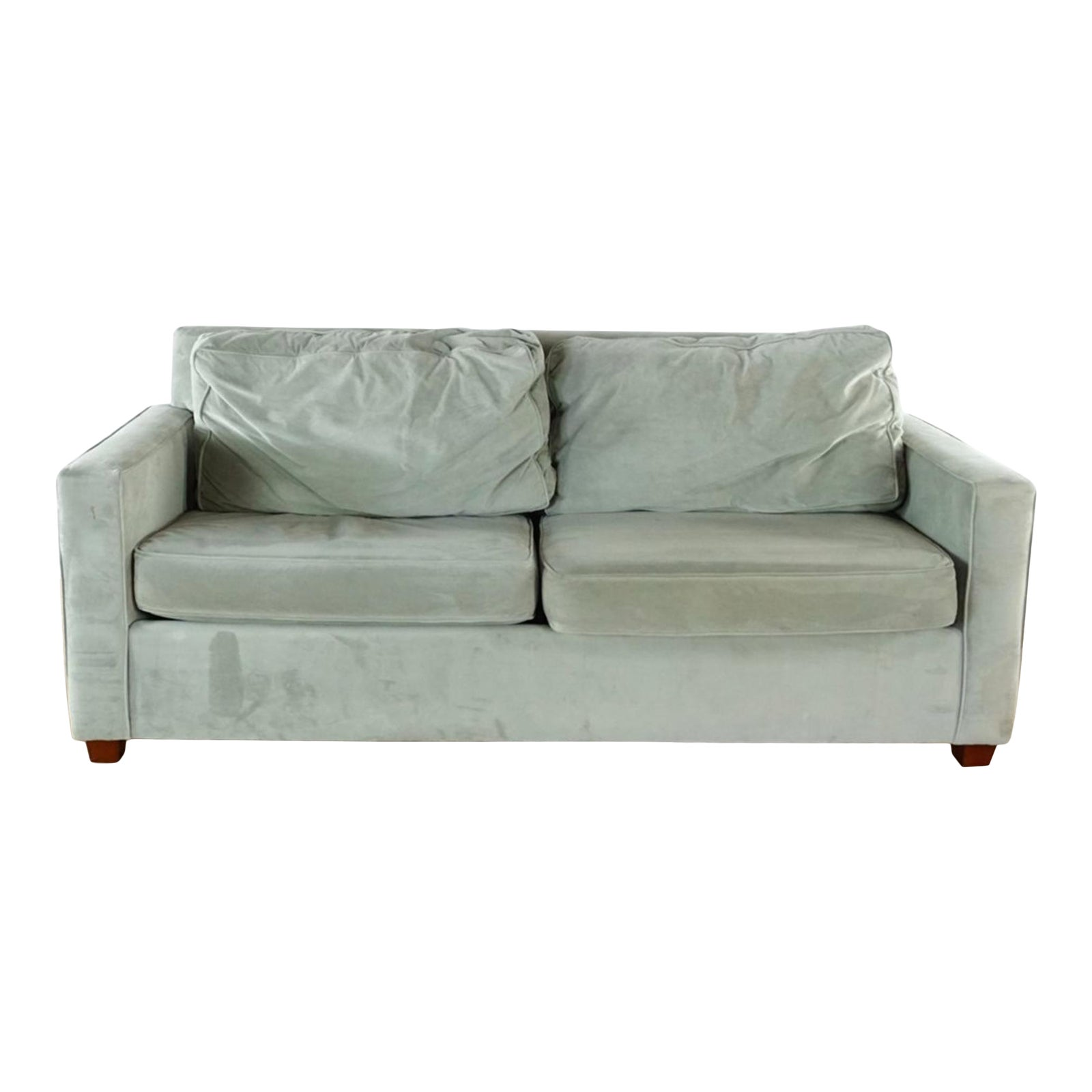 Modern West Elm Contemporary Gray Upholstered Two Cushion Sleeper Sofa