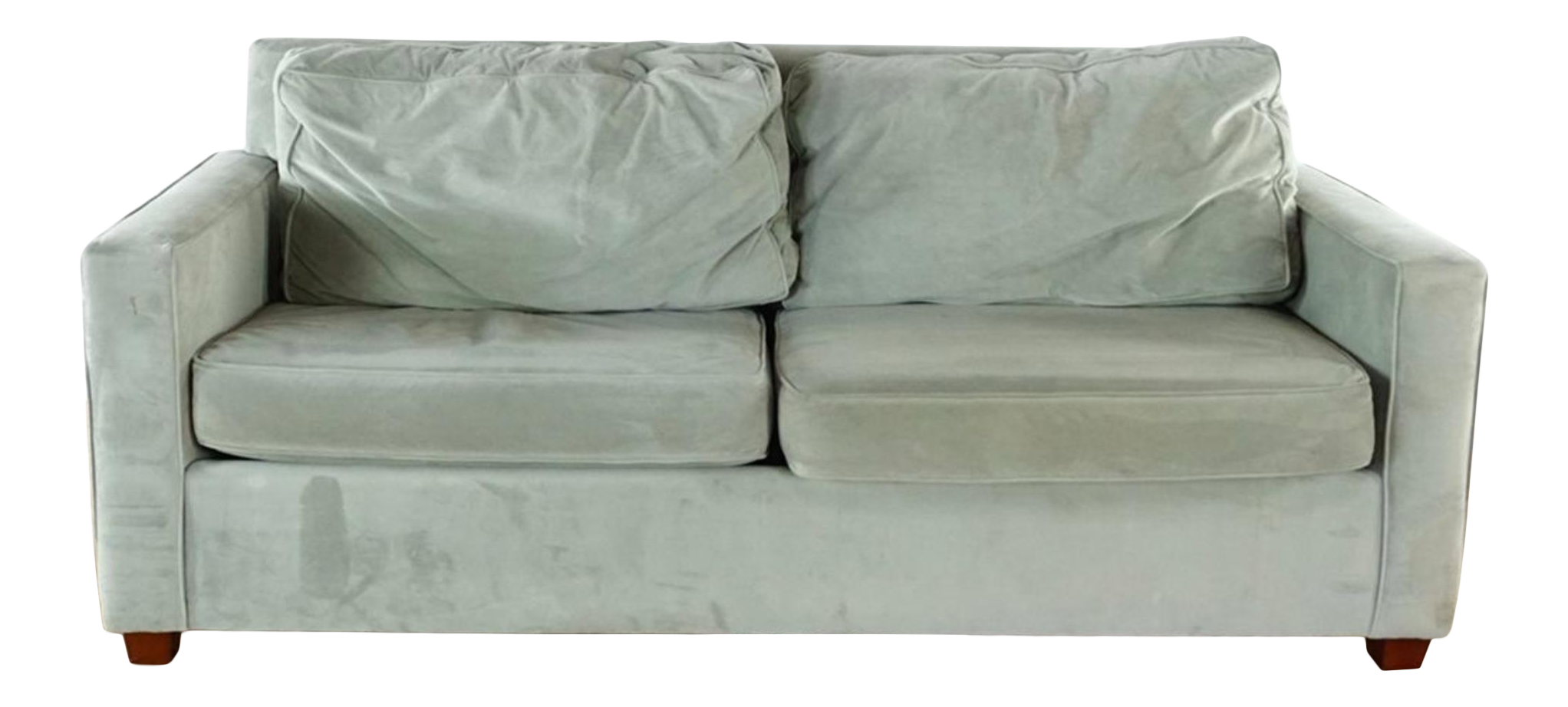 Modern West Elm Contemporary Gray Upholstered Two Cushion Sleeper Sofa For  Sale