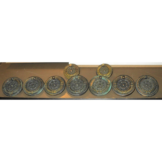 Victorian Antique Victorian Regency Bronze/Copper Round Drawer Pulls - Set of 9 For Sale - Image 3 of 5
