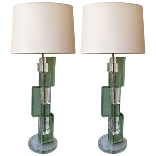 Contemporary Cubic Murano Glass and Brass Lamps - a Pair For Sale