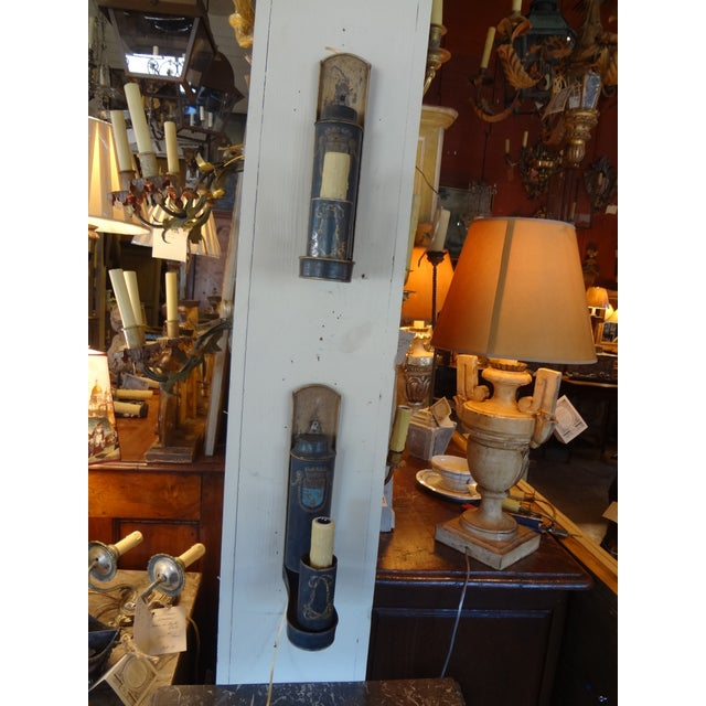 Metal 19th Century French Tole Painted Sconces, Pair For Sale - Image 7 of 10