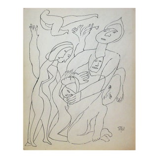 Figurative Line Drawing in Ink, Early 20th Century For Sale
