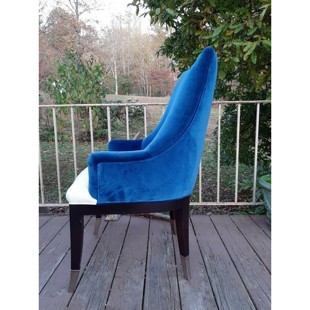 """Caracole Caracole """"You'Re Invited"""" Blue and White Upholstered Side Chair For Sale - Image 4 of 13"""