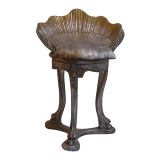 19th Century Italian Silver and Gold Gilt Cherrywood Grotto Seat