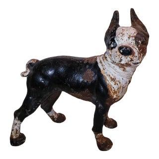 Vintage Hubley Boston Terrier Cast Iron Figure Doorstop For Sale