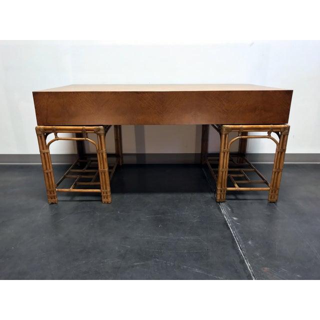 Vintage Refurbished Henredon Bamboo Rattan Double Pedestal Desk For Sale In Charlotte - Image 6 of 13