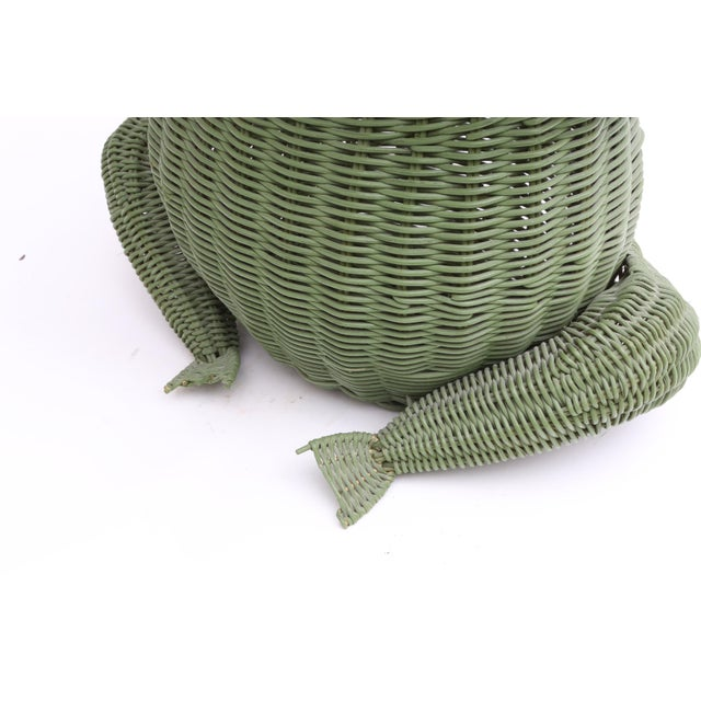 Wicker Mid Century Large Wicker Frog Basket For Sale - Image 7 of 7