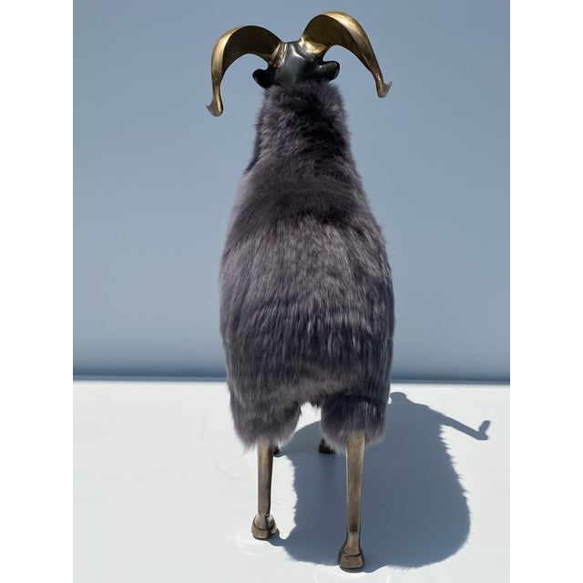 Metal Late 20th Century Brass Sheep Sculpture In the Style of Claude Lalanne For Sale - Image 7 of 13