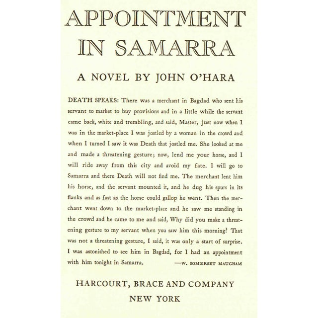 Appointment In Samarra by John O'Hara. New York: Harcourt, Brace and Company, 1961. Facsimile of the 1934 first edition....