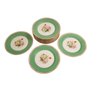 Noritake Green and Gold wih Bouquet of Tulips and Roses Dinner Plates - Set of 12 For Sale
