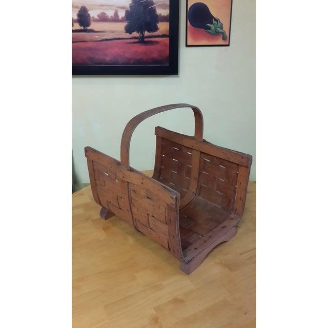 Early 20th Century Antique Split Oak Fireside Basket For Sale - Image 9 of 9