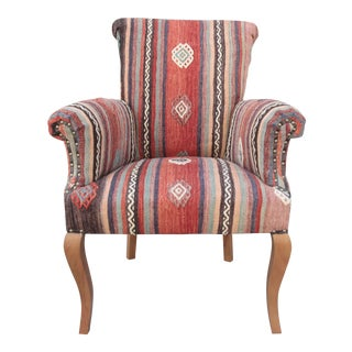 21st Century Handwoven Kilim Upholstery Armchair For Sale