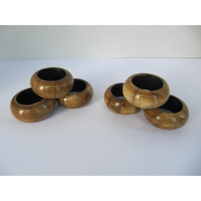Wood Napkin Rings - Set of 6 For Sale - Image 4 of 4