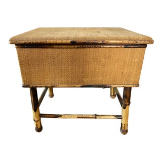 Antique Victorian Burnt Bamboo Storage Stool For Sale