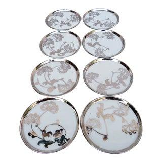 Vintage Limoges Silver Overlay Coasters - Set of 8 For Sale