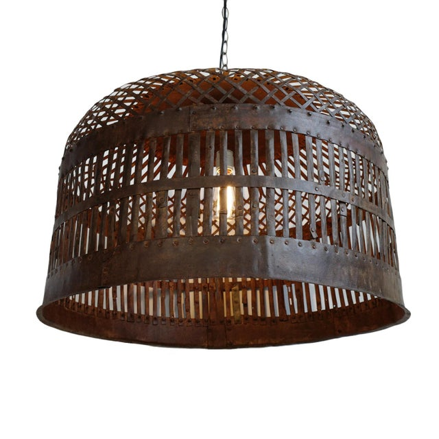 Industrial Iron Basket Cage Lantern For Sale In Los Angeles - Image 6 of 6