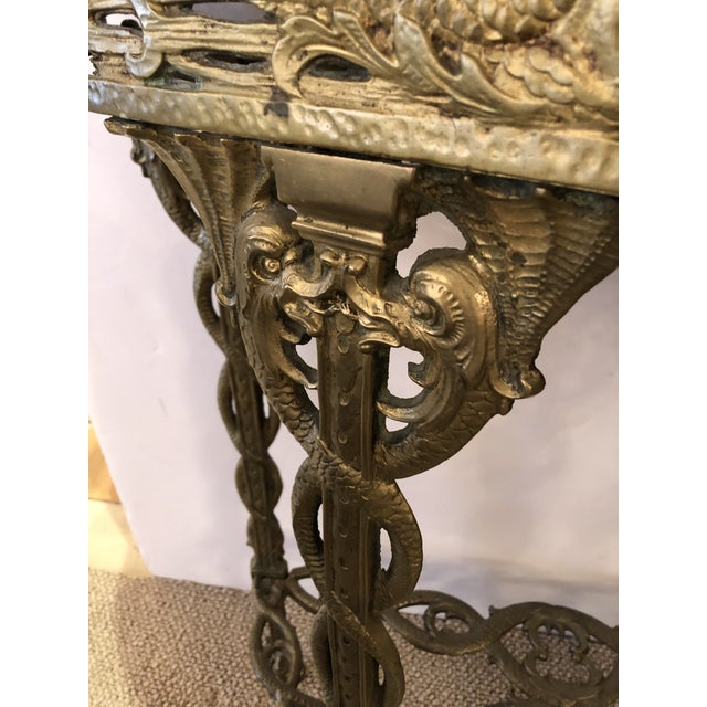 1900 - 1909 Italian Cast Relief Brass and Black Verdigris Marble Demilune Console For Sale - Image 5 of 10