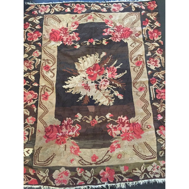 Antique Floral Kilim Rug - 4′8″ × 5′11″ - Image 3 of 4
