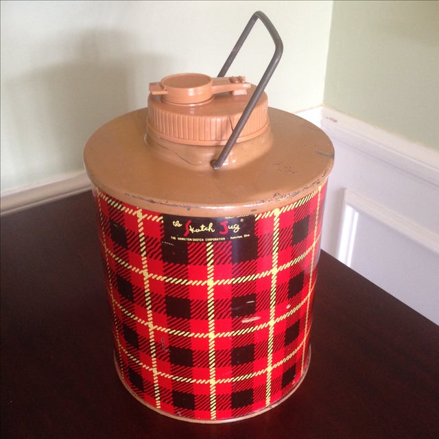 Vintage Plaid Metal Cooler Thermos - Image 2 of 11