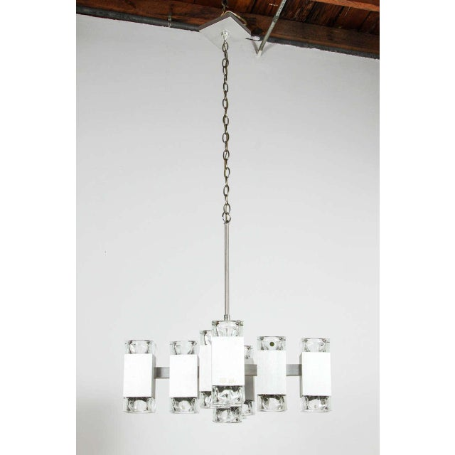 Brushed Aluminum Chandelier in the Style of Kalmar For Sale - Image 10 of 10