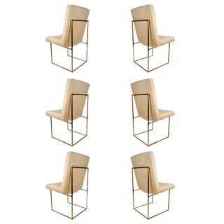 Set of Six Milo Baughman Architectural Brass Dining Chairs For Sale