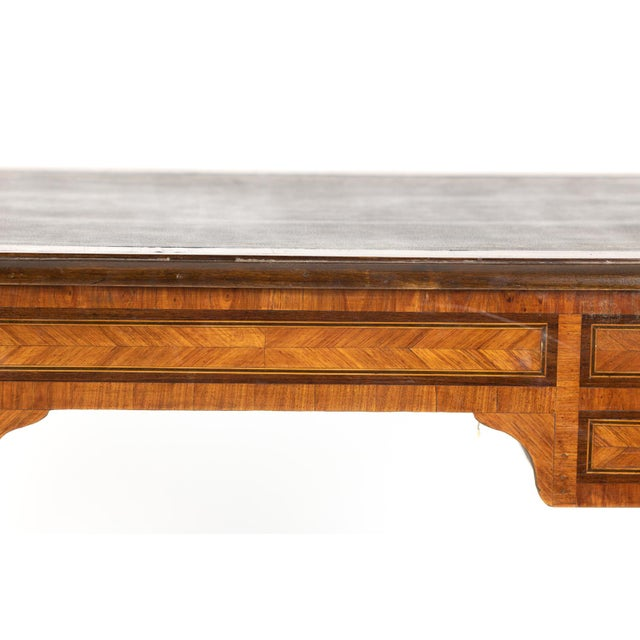 1870s French Tulipwood and Kingwood Bureau Plat With Embossed Black Leather Top For Sale - Image 12 of 13