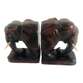 20th Century Figurative Elephant Head Bookends - a Pair For Sale