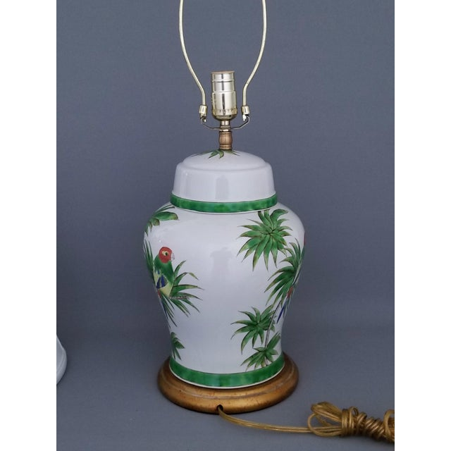 Vintage Parrot and Palm Leaf Ceramic Ginger Jar Table Lamp - Mid Century Organic Modern Boho Chic Tropical Coastal MCM For Sale In Miami - Image 6 of 11