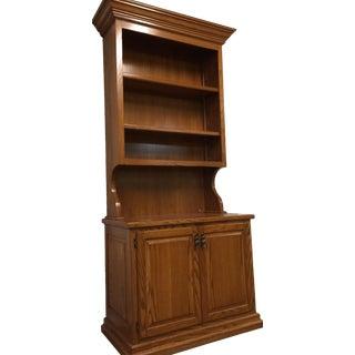 1990s Oak Cabinet Bookcase Hutch For Sale
