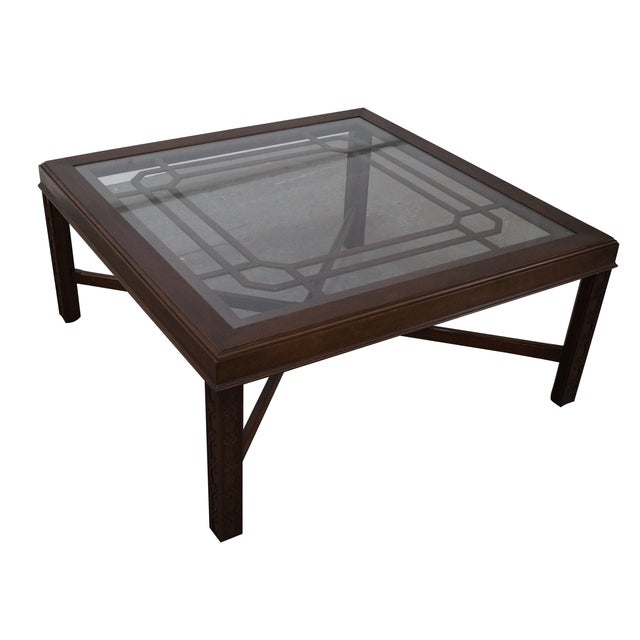 Chippendale Style Cherry Glass Top Coffee Table - Image 1 of 10
