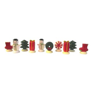 1980s Vintage Christmas Themed Placecard Holders - Set of 10 For Sale