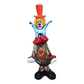 "Murano Art Glass Clown Sculpture, ""Pagliaccio"" For Sale"
