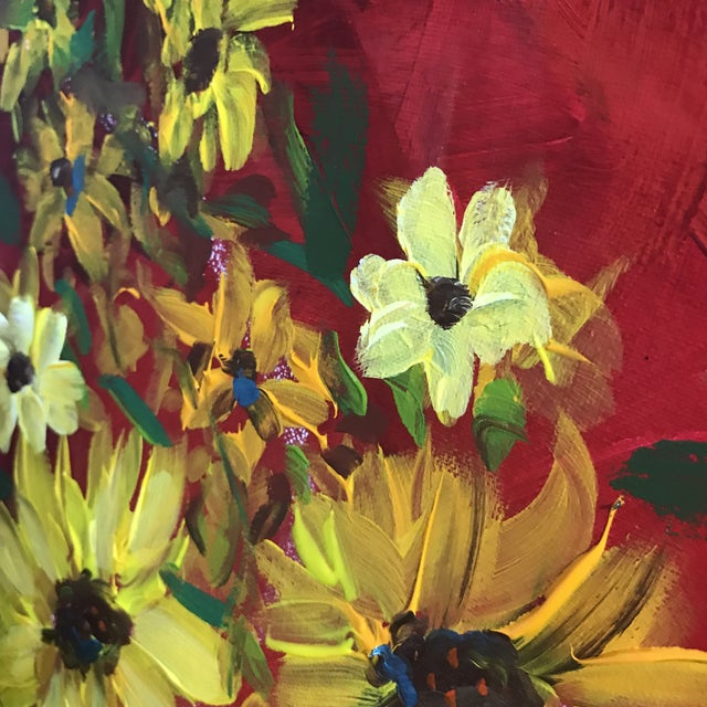 Sunflowers on red is a 16 x 20 acrylic painting. The piece was made contemporarily.