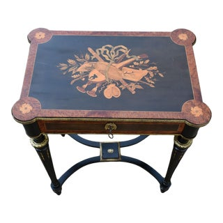 Antique French Inlaid Flip Top Table/Vanity With Brass Ormolu For Sale