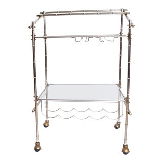 Mid-Century Modern Nickel Plated Rolling Service Bar Cart Trolley For Sale
