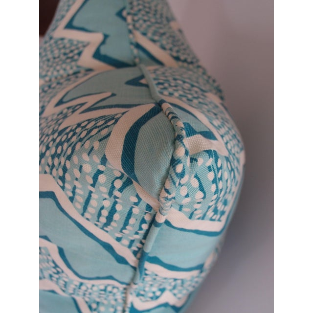 Quadrille Fabric Turquoise Zig Zag Pillow - Image 3 of 3