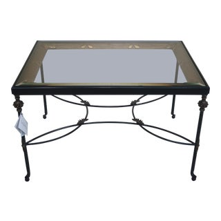 LaBarge Glass Top & Metal Base Occasional Table For Sale