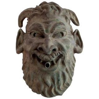 Head of a Faun Mask Wall Fountain For Sale