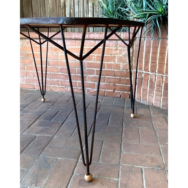 1950s 1950s Mid-Century Modern Solid Wood & Hairpin Iron Leg Table For Sale - Image 5 of 8