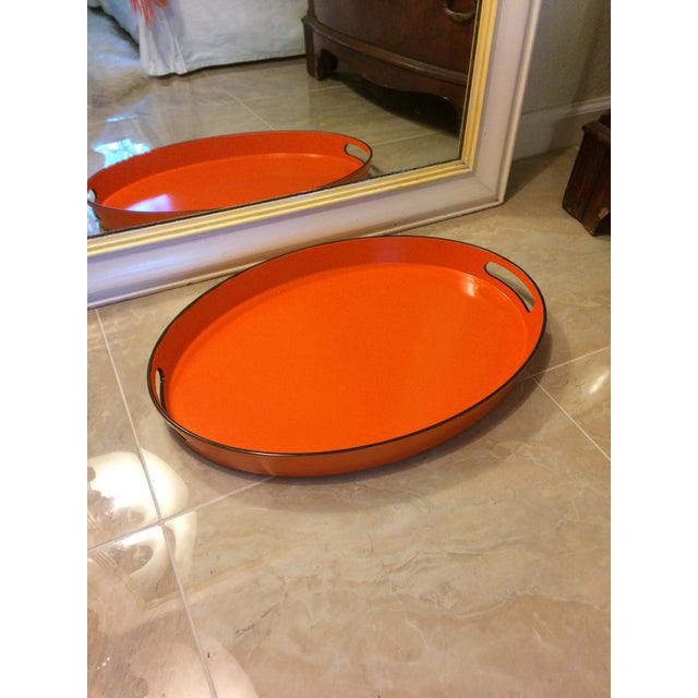 Orange Lacquer Oval Hermès Inspired Serving Tray - Image 10 of 12