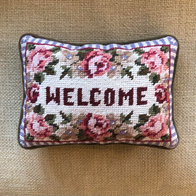 Needlepoint Floral Welcome Pillow For Sale - Image 4 of 4