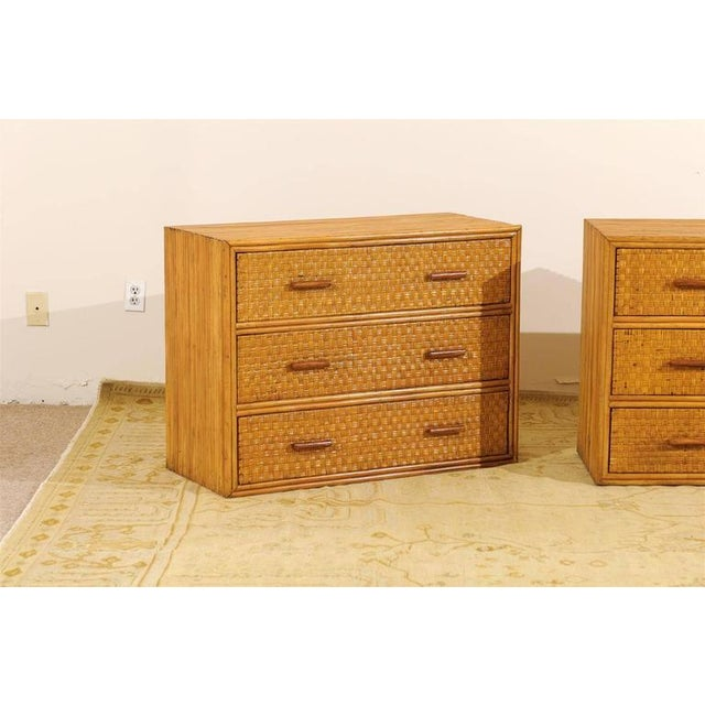Handsome Pair of Restored Vintage Bamboo and Rattan Chests For Sale - Image 4 of 10