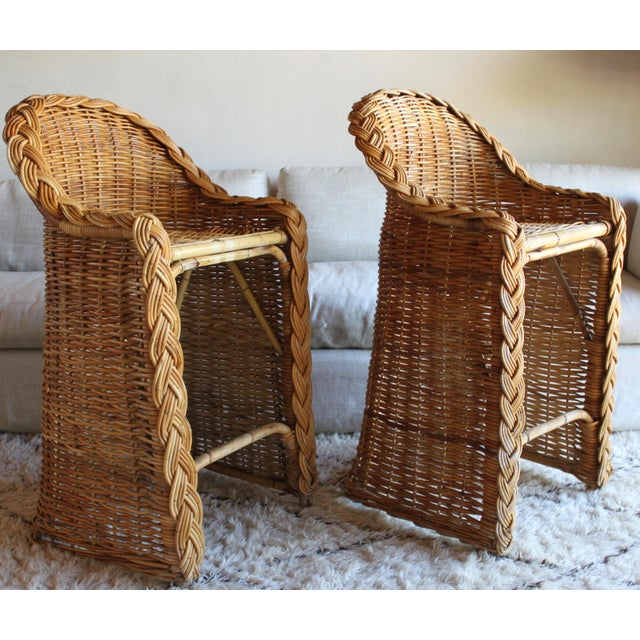 1970s Vintage French Woven Rattan Bar Stools - a Pair For Sale - Image 5 of 13