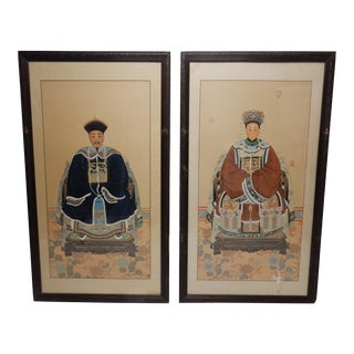 Pair of Chinese Ancestral Paintings on Silk For Sale