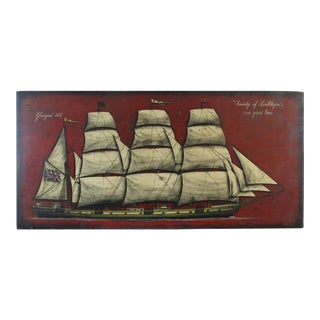 Oil on Wood Panel Wall Hanging of a Sailing Ship by Bottega d'Arte DI Francesco Conz For Sale
