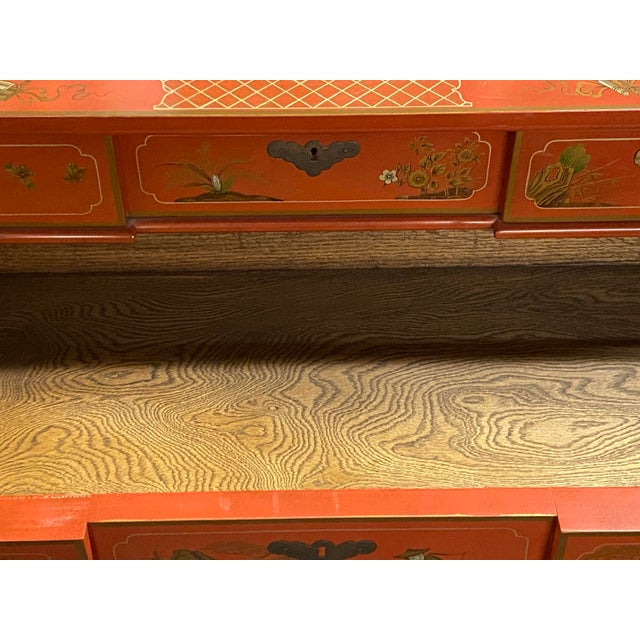 1970s Chinese Red Chinoiserie Chest of Drawers by Baker Furniture C.1970s For Sale - Image 5 of 11