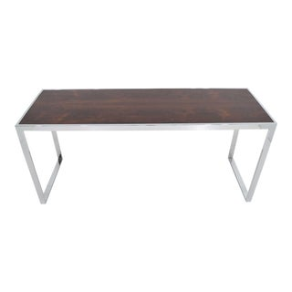 Rosewood and Chrome Frame Console For Sale