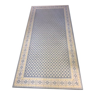 Stanton Country Border Rug in Blue and Yellow - 3′6″ × 6′10″ For Sale